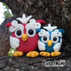 Polymer Clay Red Blue Owls Glow - Cake Toppers, Jewelry Pendants, Ornaments, Figurines, Characters, Sculptures  - Cute Collectible Whimsical - Kimmie's Clay Kreations