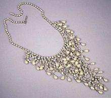 Vintage Runway Bridal Pearl & Rhinestone Bib Necklace - Gorgeous