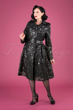 Grace & Glam Lucinda Lace Raincoat in Black Bow Tops, Top Vintage, Classy Chic, Cropped Cardigan, Pencil Dress, Winter Collection, Wool Coat, Double Breasted, Raincoat