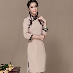 Appealing Knee Length Qipao Cheongsam Dress - Beige - Qipao - Cheongsam - Women