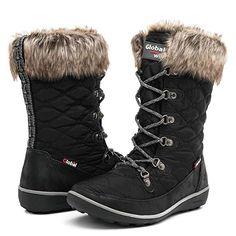 9e73a82a8038 Globalwin Women s 1731 Black Winter Waterproof Snow Boots 6M