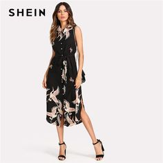 4c7c93cffc Floral Crane Print Button Up Curved Hem Dress Sleeveless Belted Chiffon  Shirt Dress Beach Boho Dress