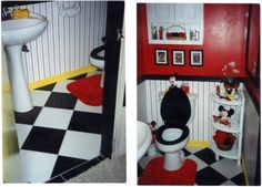 Mickey Mouse themed bathroom created by my mother of someone. Very Cute Idea...I love Mickey Mouse