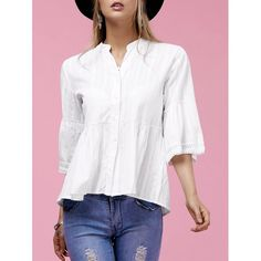 Sweet Flare Sleeve V-Neck Buttoned Women's Blouse #men, #hats, #watches, #belts, #fashion