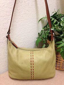 Fossil Vintage Green Pebble Leather Brown Trim Shoulder Handbag Bag 75082 Guc Ebay