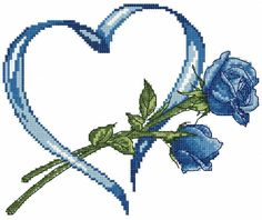 Blue rose and heart cross stitch free embroidery design - Valentine's Day - Machine embroidery forum