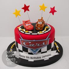 Cars Cake Ideas Mcqueen 24 Ideas For 2019 Disney Cars Cake, Disney Cars Birthday, Cars Birthday Parties, Lighting Mcqueen Cake, Bolo Hot Wheels, Cars Theme Cake, Car Cakes For Boys, Rodjendanske Torte, 3rd Birthday Cakes