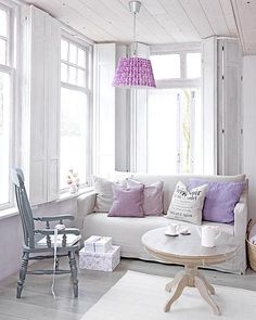 Neutral And Lilac Living Room