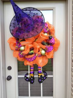 Halloween Witch Deco Poly Mesh Wreath.