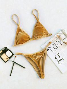Gold Triangle Velvet Bikini Set @redreidinghood www.redreidinghood.com