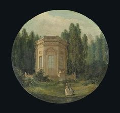 Les jardins du Petit Trianon avec le Belvédère à Versailles, presumed to be Marie-Antoinette in the foreground, circa 1780's by Hubert Robert (1733-1808)