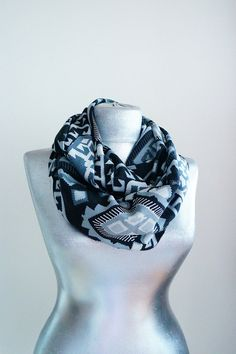 Scarf - Handmade Ethnic Infinity Scarf - Cotton - White Gray Black - 4 Season Scarf on Etsy, $24.90
