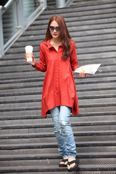 Spring Dress Long Sleeve Dress Shirt Loose Fitting Blouse Long Shirt Dress in red - NC325.