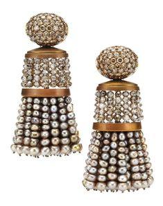 Pearl, diamond, and copper tassel earrings by Hemmerle