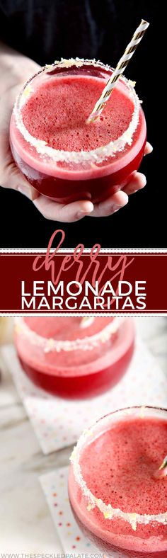 Cool down with Cherry Lemonade Margaritas! Made with freshly squeezed lemon juice, cherries and tequila, these margs are the perfect drink to sip all summer! #recipe #cocktail #drink