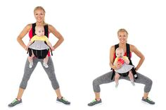 Plié Squat: With baby tucked in tight in his or her baby carrier, stand a little more than shoulder-width apart, toes turned out and begin to Plié. Start with 2 sets of 20 and build on as you become stronger.