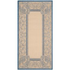 Courtyard Natural/Blue 2 ft. x 3 ft. 7 in. Indoor/Outdoor Rectangle Area Rug