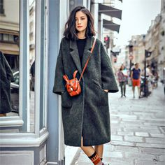 AUDREY WANG美丽偌长羊毛中长款大衣 西装领墨绿呢大衣秋冬新-淘宝网