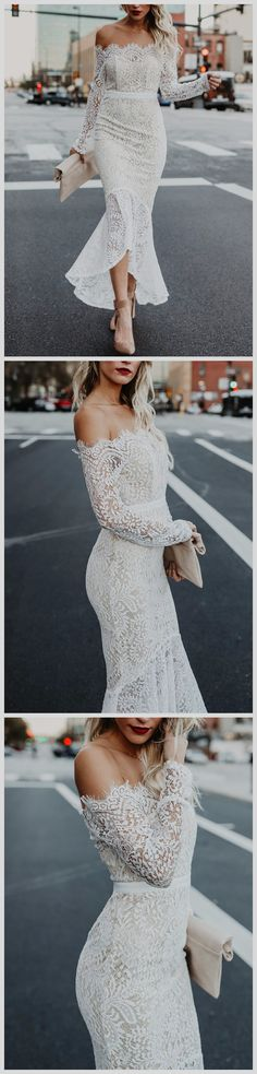 Sexy Off Shoulder Crochet Lace Mermaid Bodycon Dress €28
