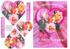 This beautiful pyramid card can be used for valentines day, or an annivaersary, or just because you love someone.  The card has the words that say, Because you are mine, I smile everyday. It also has a matching insert number cup493817_906