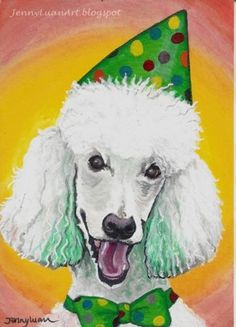 Original-ACEO-TW-JAN-P4Pmjff-white-poodle-dog-Acrylic-painting-by-Jenny-Luan
