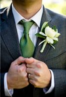 I'm really loving grey suits for the groomsmen, and green ties to match the bridesmaid dresses.