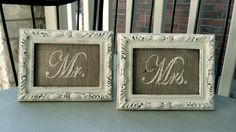 MR. & MRS. Burlap Wedding Signs in Shabby Chic Cream Painted Frame Perfect for Head Table or as Table numbers / Place Cards. $35.00, via Etsy.