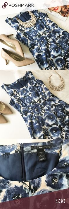 Navy Floral Dress! Navy and white floral navy dress, by H&M, in excellent condition! H&M Dresses Midi