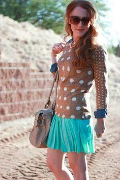 Dot sweater + neon skirt