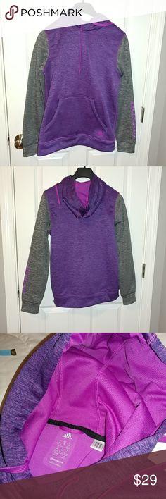 🌠NWOT🌠ADDIDAS Climawarm Women's Fleece Hoodie Purple/Grey Women's Addidas Fleece Hoodie. Sz US Medium ADIDAS Jackets & Coats