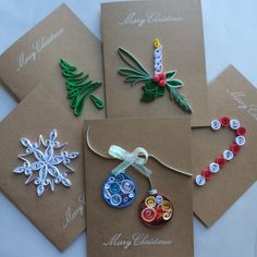 Quilled Christmas Card set of 5 by OlygamiCrafts on Etsy