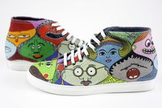 Cool Coasters, High Tops, High Top Sneakers, Faces, Pattern, Fun, Accessories, Fashion, Moda
