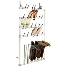 Schoenenrek en laarzenrek speciaal ontworpen om aan de deur te hangen of te bevestigen aan de wand. Het rek is geschikt voor 12 paar schoenen en 3 paar laarzen.