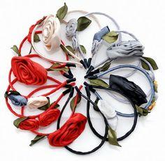 Vinchas con flores de tela