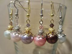 Colored Pearl & Crystal Dangle Wedding Earrings by Pizzelwaddels, $17.97