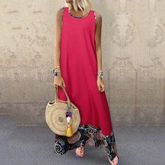 Female National Wind Loose Cotton Vest Long Sleeveless Casual Maxi Dress Source by Beautiful Dress Designs, Summer Outfits, Summer Dresses, Bikini, Boho Dress, Casual Dresses, Maxi Dresses, Casual Outfits, Long Dresses