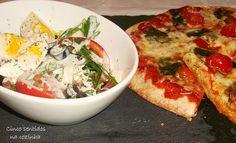 Cinco sentidos na cozinha: Salada de rúcula, ovo, tomate e azeitonas