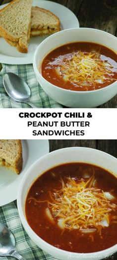 Crockpot Chili with Peanut Butter Sandwiches – 5 ingredient Easy Asian Recipes, Easy Dinner Recipes, Gourmet Recipes, Crockpot Recipes, Ethnic Recipes, Copycat Recipes, Delicious Recipes, Dinner Ideas, Tasty