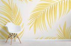 Feel the breeze of the tropics in your home with our yellow tropical palm wallpaper, a minimal design that's truly modern. Buy now with fast & FREE UK delivery! Palm Leaf Wallpaper, Tropical Wallpaper, Estilo Interior, Interior Styling, Bedroom Murals, Bedroom Wall, Bedroom Furniture, Paradis Tropical, Tropical Bedrooms