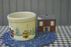 $24.90 ✿ bluefolkhome on etsy ✿ Cozy Winter Home Grouping Hand Painted Pot - Blue Woven Matt -Hand Painted Wood House 3 Piece Arrangement  Rustic Farmhouse Cottage Country