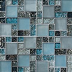 Crackle Glass Tile - Various Sized Crackled Glossy Glass and Frosted Glass Tile Mosaic - Blue Blend