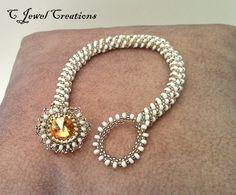 Golden Crystal Bracelet, Swarovski Rivoli Bracelet, Beadweaving. $35.00, via Etsy.