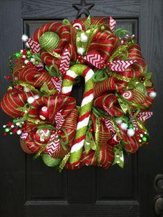 HOLLY JOLLY CHRISTMAS Mesh Wreath on Etsy, $125.00