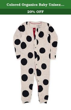 Colored Organics Baby Unisex Organic Peyton Sleeper - Heather Oat / Black Polka Dot - 0-3M. The Peyton Organic Infant Sleeper is designed to provide a comfy and breathable layer that will keep your baby comfortable all night long. Made of a soft 1x1 Rib, this baby sleeper demonstrates the unrivaled softness and luxurious feel of its high quality organic cotton construction. This long sleeve sleeper features a front snap up seam with backing for increased comfort and easy, hassle free...