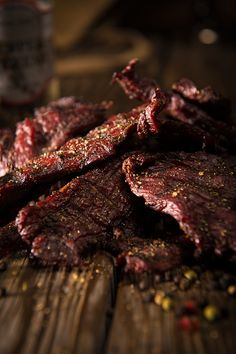 Smoke this hearty Peppered Beef Jerky recipe low and slow then sink your teeth into a pre-historic chunk of protein. What once was ancient necessity is now wood-fired on your Traeger for a gourmet snack. Simple Beef Jerky Recipe, Peppered Beef Jerky Recipe, Deer Jerky Recipe, Homemade Beef Jerky, Venison Jerky Recipe, Smoked Beef Jerky, Best Beef Jerky, Jerkey Recipes, Traeger Recipes