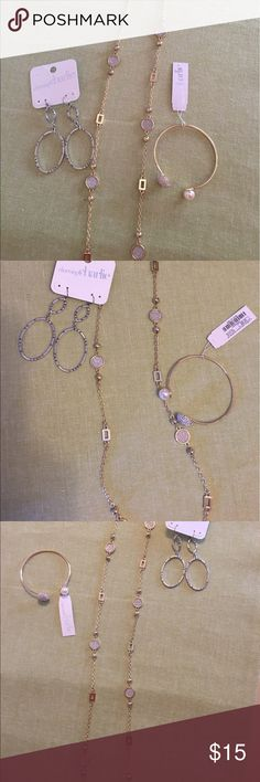 ✨NWT Charming Charlie Jewelry Bundle✨ Three brand new charming Charlie jewelry items. One long gold necklace with circle and square charms accented with shimmer(17 drop) One gold bracelet with a pearl on one side and a cluster of crystals on the other. One set of silver drop earring with pewter and silver gems.      All new with tag. Charming Charlie Jewelry