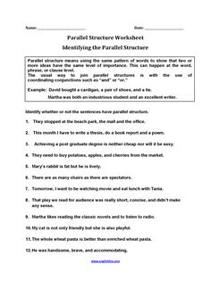 Finding Parallel Structure Worksheets | English language ...