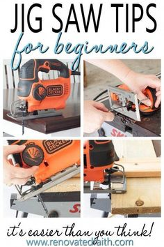 Tip 2 is great! How to Use a Jig Saw - Step by Step tutorial with pictures and tips, great for beginniners. Jig saws are great for crafts, art and diy projects. This guide shows what blades to use and some easy hacks and how to make your next woodworkin Woodworking Power Tools, Easy Woodworking Projects, Popular Woodworking, Diy Pallet Projects, Fine Woodworking, Wood Projects, Woodworking Furniture, Woodworking Classes, Wood Furniture