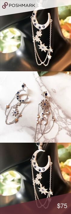 Beautiful Moon & Star ⭐️ silver blue stone earring This is a pair of extremely beautiful, goddess style the moon and the stars earrings. Silver tone metal with very detail crystals and blue gems. Super delicate and super pretty. Brand new. Jewelry Earrings