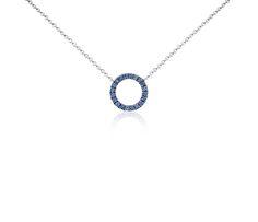 Mini Sapphire Circle Pendant in 14k White Gold #BlueNile #jewelry #style